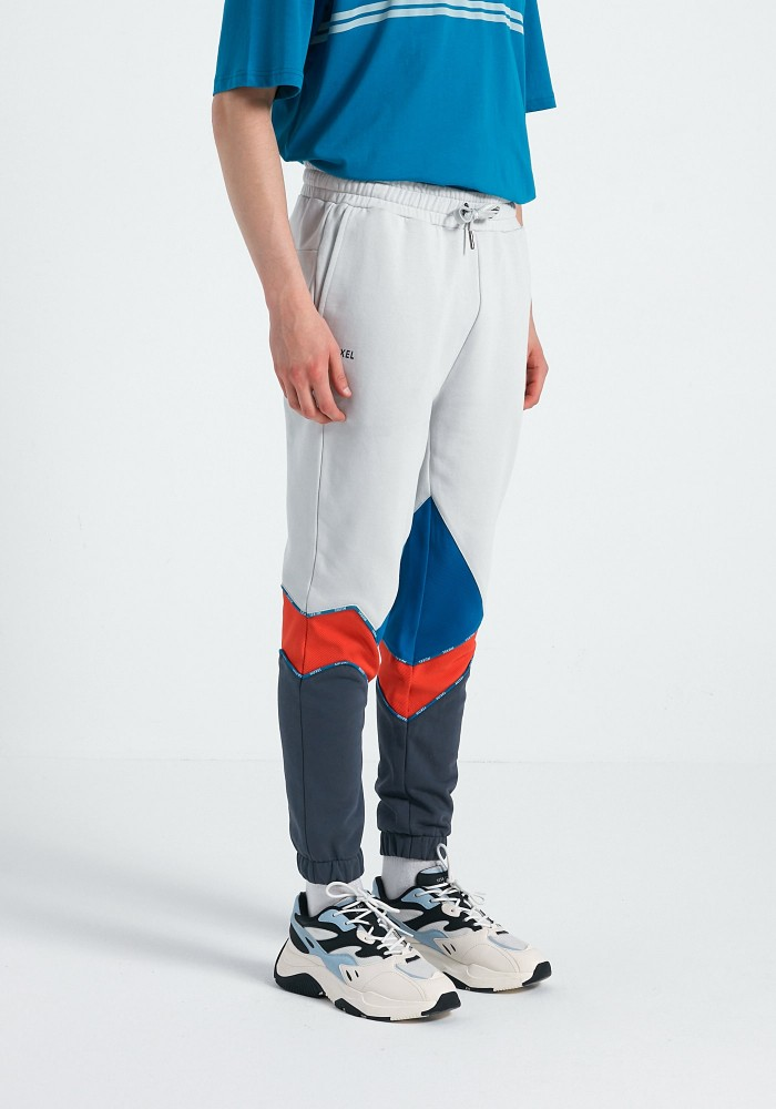 Boho Chic Turuncu Beyaz Mavi Gri Parçalı Sweatpant