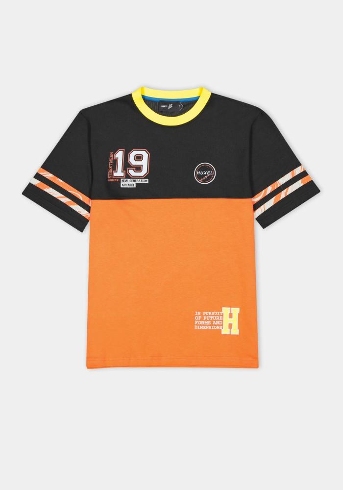 Boho Chic Turuncu Siyah Parçalı T-Shirt 19
