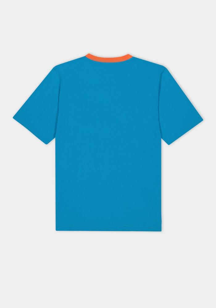 Boho Chic Turuncu Yaka Detaylı Mavi T-Shirt 19