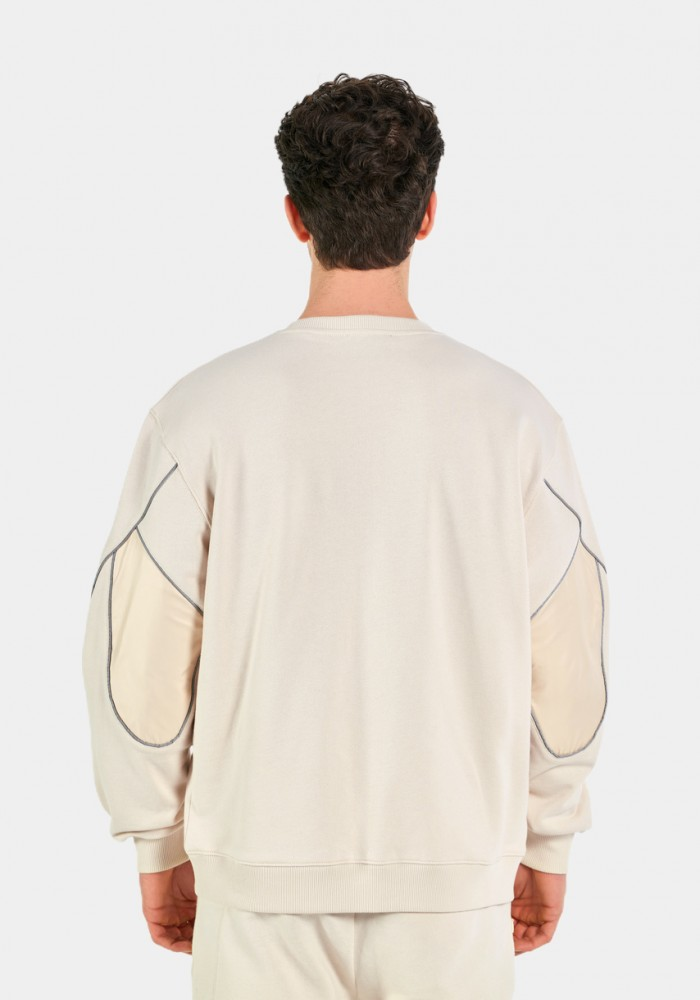 Enjeksiyon Detaylı Krem Sweatshirt