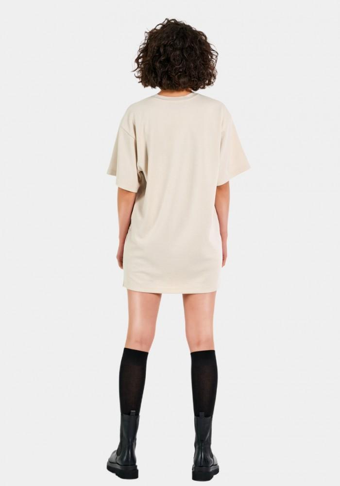 Fitilli Kadife Detaylı Krem Elbise