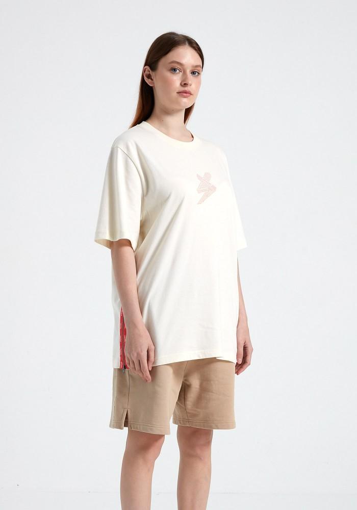Glam Street Fermuar Detaylı Açık Gri T-Shirt