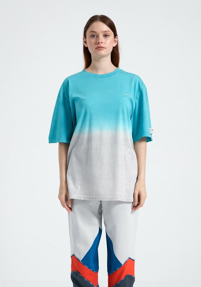 Glam Street Mavi Açık Gri Yıkama Detaylı T-Shirt