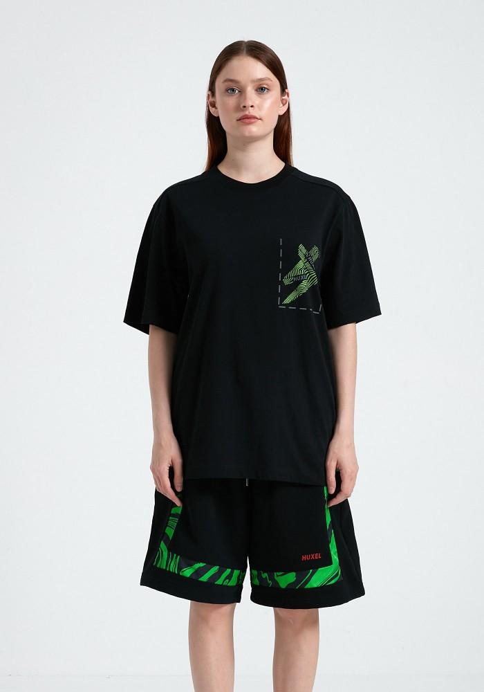Glam Street Reflektör Detaylı Siyah T-Shirt