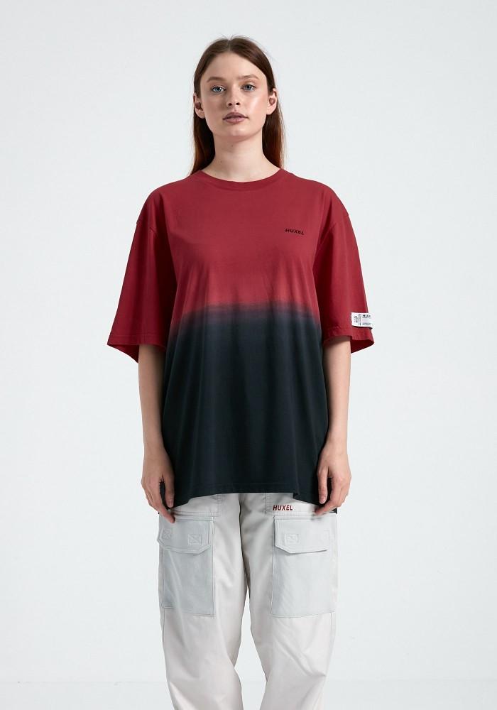 Glam Street Siyah Kırmızı Yıkama Detaylı T-Shirt