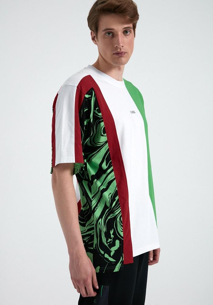 Glam Street Yeşil Baskı Parçalı Çok Asimetrik Yıldız T-Shirt