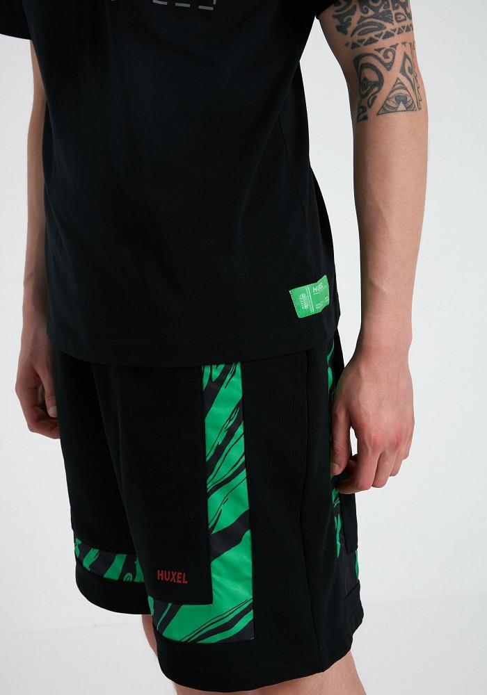 Glam Street Yeşil Parça Detaylı Siyah Şort