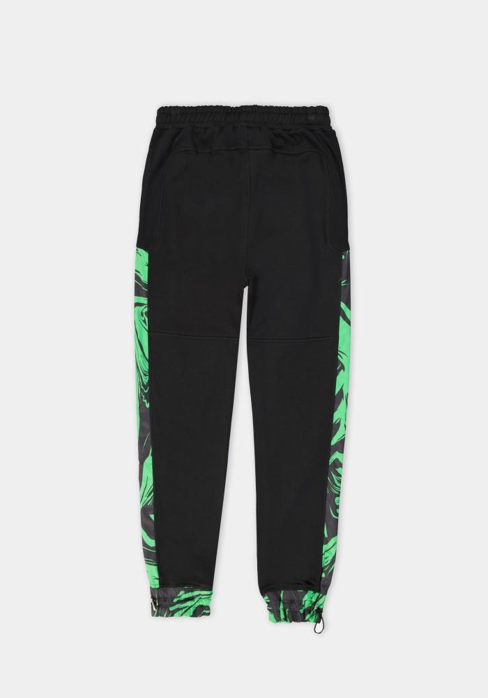 Glam Street Yeşil Parça Detaylı Siyah Sweatpant