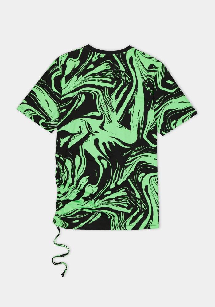 Glam Street Yeşil Siyah Yıkama Detaylı Midi Elbise