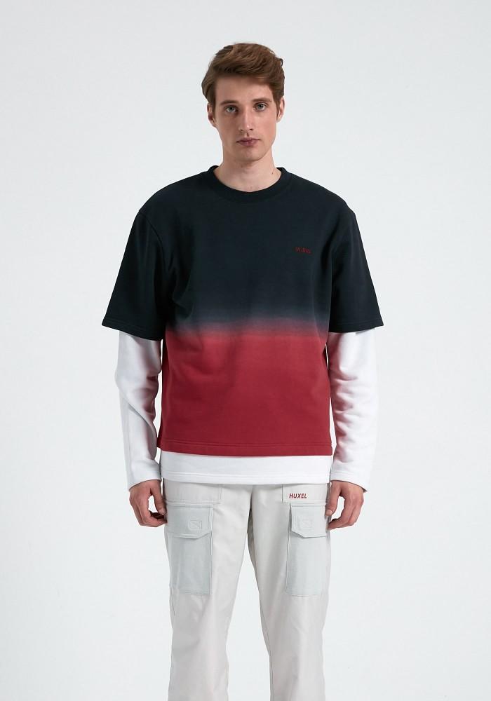 Glam Street Yıkama Detaylı Siyah - Kırmızı Sweatshirt