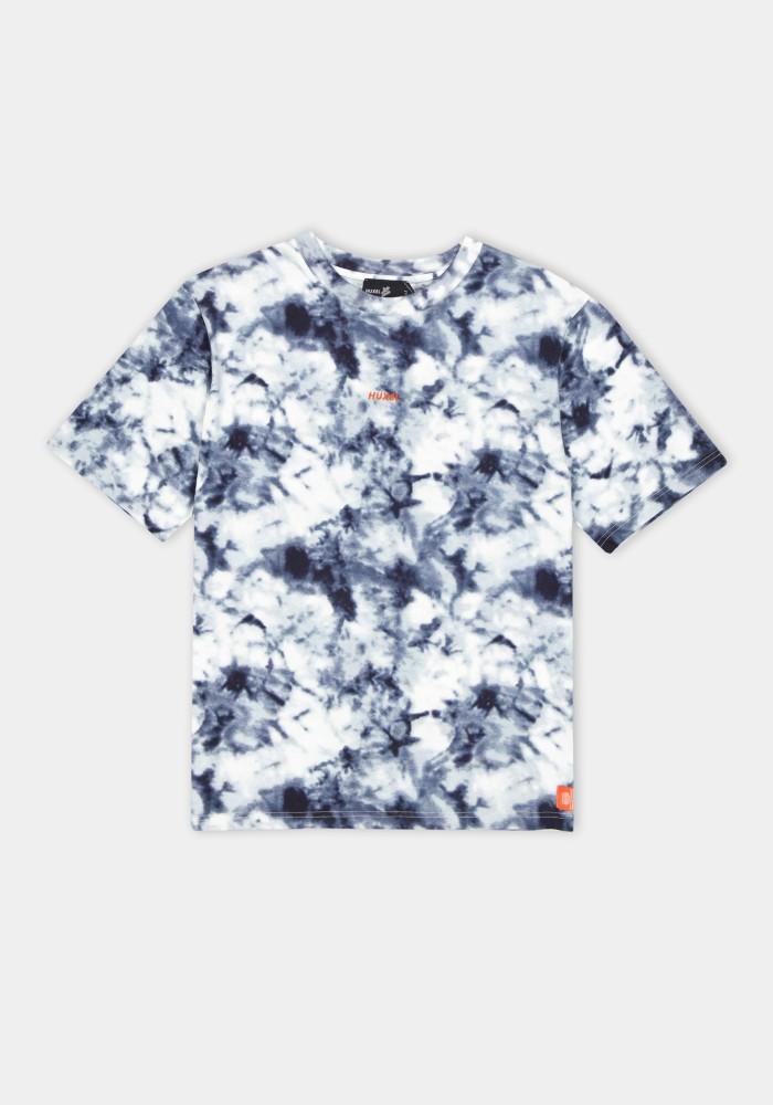 Natural Touch Lacivert Beyaz Batik Yıkama Detaylı T-Shirt