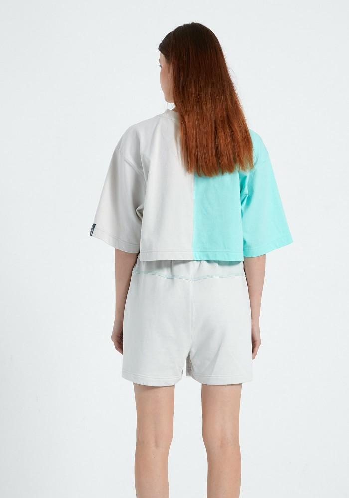 Natural Touch Mint - Beyaz Parçalı Crop T-Shirt