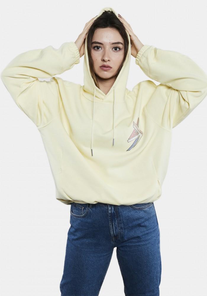 Sarı Baskılı Oversize Hoodie
