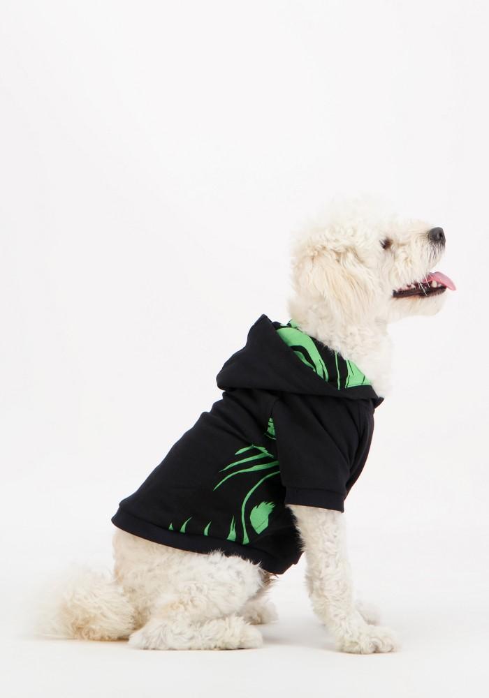 Siyah Yeşil Parçalı Hoodie