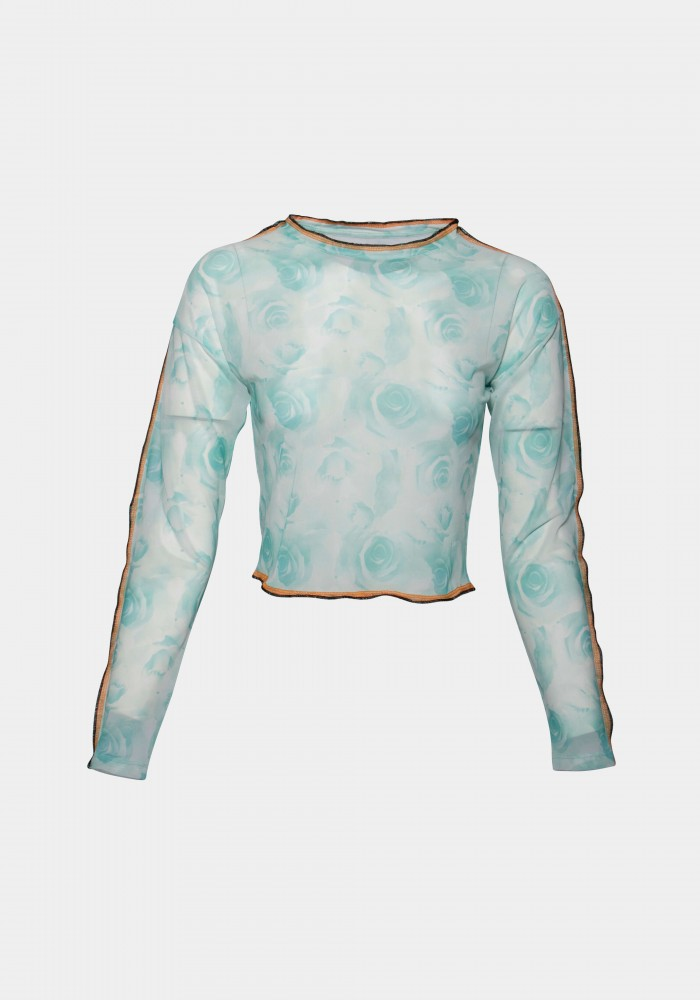Turkuaz All Over Printed Tulle Top