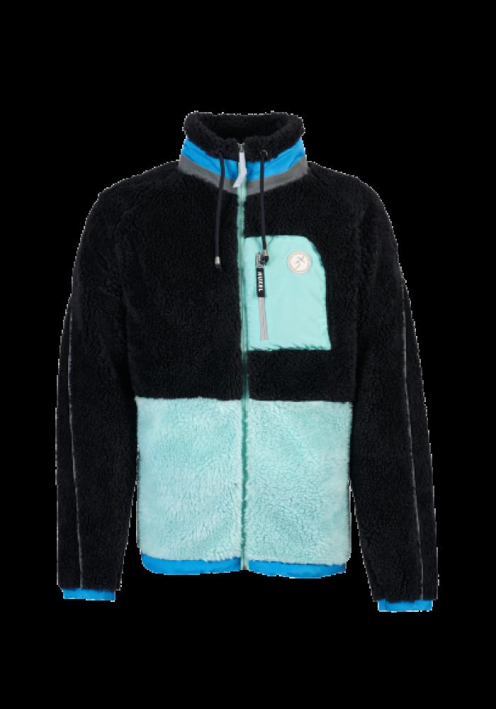 Yeşil/Mavi Detaylı Koyu Lacivert Polar Mont